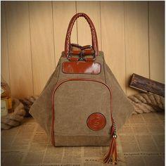 34.48$  Watch here - http://vigwx.justgood.pw/vig/item.php?t=jy7mvu53662 - Women Men Canvas Tassel Backpack Casual Diagonal Handbags Multi Functional Shoul