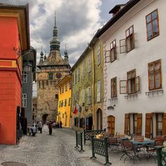 """visitheworld: """" Terrace inside the medieval fortress in Sighisoara, Romania (by """" The Beautiful Country, Beautiful Places, Places Around The World, Around The Worlds, Medieval Fortress, Natural Scenery, Albania, Macedonia, Luxury Travel"""