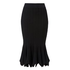 Viscose/Nylon/Elastane Crepe Edge Tube Skirt. Fitted silhouette features an elasticised tube body with flounce at hem, in a textured crepe fabrication. Available in black as shown.