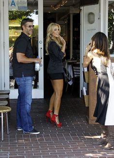Black Blazer, Black Dressy Shorts or Skirt, Strappy Red Heels!