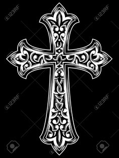 Antique Christian Cross Vector.