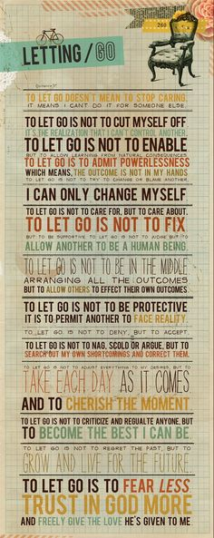 printable poster about letting go... - Click image to find more Other Pinterest pins
