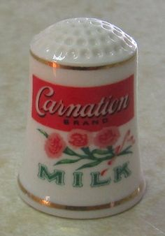 Carnation Milk Thimble Franklin Porcelain   eBay