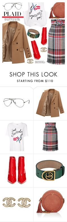 """Check It : plaid"" by freshprincesse ❤ liked on Polyvore featuring Ray-Ban, Yves Saint Laurent, Oscar de la Renta, Gianvito Rossi, Gucci, Chanel and Jérôme Dreyfuss"
