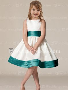 Cheap Flower Girl Dress_Light Ivory/Teal. $65