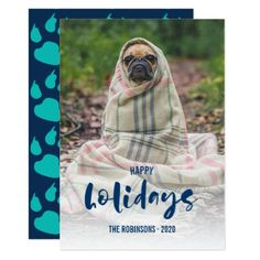 Handwriting overlay Dog Holiday Seasons photo Card - christmas cards merry xmas family party holidays cyo diy greeting card