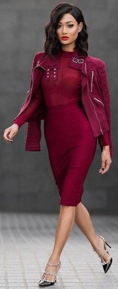 All Everything Burgundy Biker Jacket And Dress + Black Valentino Rockstuds | Micah Gianneli