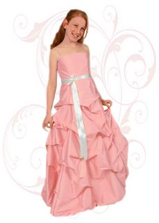 Pink Dupioni Silk Flower Girl Dress