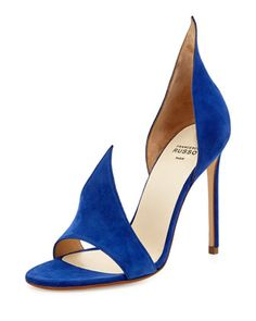Flame Suede d\'Orsay Sandal, Indaco by Francesco Russo at Bergdorf Goodman.