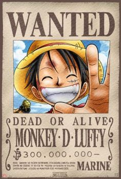 Poster One Piece Wanted Luffy (52X35)
