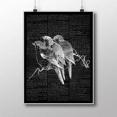 Birds on branch poster, swallow Print, Dictionary Decor, Modern art ZA181 by BWDecor on Etsy https://www.etsy.com/listing/255479457/birds-on-branch-poster-swallow-print