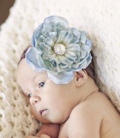 The Gabbi - Sky Blue Premium Silk Flower with Pearl and Rhinstone Accent-Vintage, Raw Silk, French Tulle, Lace, Baby Headband, Christening Headband, Baptism Headband, Flower Headband, Flower Clip, Chiffon Fabric Flower