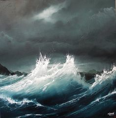 Learn how to paint the ocean, waves, and gorgeous night sky in this step by s. Seascape Paintings, Oil Painting On Canvas, Learn Painting, Painting Abstract, Sea Drawing, Art Van, Sea Waves, Ocean Art, Scenery