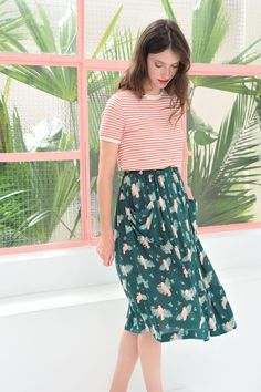 This skirt is so much like the Miramar! How to mix prints and patterns, cute summer outfit ideas, stripes + leopard print, how to style stripes, how to style leopard print, pattern mixing ideas, how to mix patterns in an outfit, street style, fashion blogger style, graphic tee shirt, mixing polka dots and stripes,