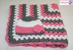 Handmade Crochet Baby Blanket & Hat Set