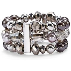 Chico's Luna Lumi Bracelet featuring polyvore, fashion, jewelry, bracelets, pearl gray, beaded jewelry, pearl bracelet, bracelet bangle, stretchy bracelet and pearl jewelry