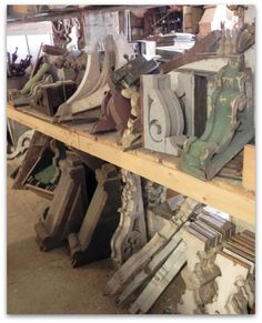 Architectural Salvage at Shanks Antique Connection in Oxford, PA - look at all of those salvaged corbels!!! Read More at: blogshomes.blogspot.com