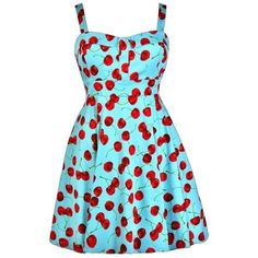 Cheerful Cherry Blue Printed Fit and Flare Dress- Plus Size ❤ liked on Polyvore featuring dresses, fit flare dress, plus size day dresses, a line dress, blue retro dress and blue fit-and-flare dresses