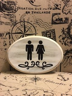 Bathroom Sign with symbols (white) with decal by CountryHomemakers on Etsy https://www.etsy.com/listing/261523338/bathroom-sign-with-symbols-white-with
