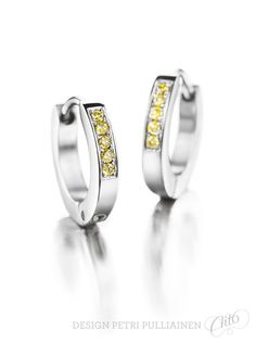Stainless steel ear rings with canary-yellow diamonds. Wedding Ring Designs, Wedding Rings, Canary Yellow Diamonds, Institute Of Design, Ear Rings, Helsinki, Petra, Different Colors, White Gold