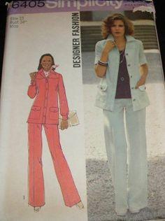 Simplicity 6405 Vtg '70s PANTSUIT FLARED PANTS JACKET sz 12 sewing pattern retro