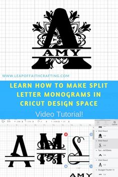 Learn how to make a split letter monogram in this Cricut Design Space tutorial. DIY monograms are easy with the slice tool and weld tool. Watch a CDS video tutorial to learn how! Cricut Monogram, Diy Monogram, Cricut Fonts, Monogram Letters, Wood Letters, Monogram Fonts, Cricut Air 2, Cricut Help, Cricut Vinyl
