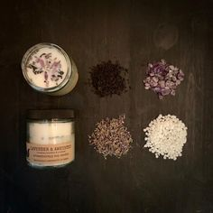 CALM, HEAL & BALANCE  gemstone - amethyst floral - lavender, earl grey leaves essential oils - bergamot, lavender  Our floral and gemstone candles are individually handcrafted, making each one unique and special. Made with soy wax, wild-crafted, dried flowers/herbs, healing gemstones and essential oils.   #soycandle #candle #essentialoil #aromatherapy #forthehome #homedecor #naturalproduct Paraffin Candles, Soy Candles, Candle Jars, Thing 1, Glass Containers, Burning Candle, Smell Good, Bergamot, Wax Melts