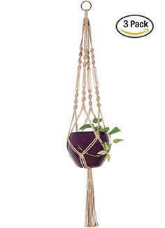 Mkono 3Pcs Macrame Plant Hanger Indoor Outdoor Hanging Pl...