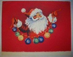 "Santa with string of bulbs ""GREETINGS"" VINTAGE CHRISTMAS GREETING CARD *P"