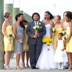 Yellow and Grey Wedding on the Bay by Laura's Focus Photography!