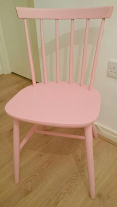 Ercol style dining kitchen chair painted with Plastikote Cameo Pink spray paint Painting Kitchen Chairs, Pink Spray Paint, Painted Wooden Chairs, Ercol Chair, Spray Paint Projects, Dining Chairs, Dining Room, Toddler Chair, Walsall