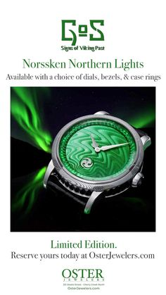 *NEW LIMITED EDITION WATCH*  Presenting the limited edition Gustafsson & Sjögren (GoS) Norrsken. Drawing inspiration from the Northern Lights, this timepiece captures the appearance of swirling green lights dancing across the northern skies. in a choice of a hand-guilloché dial or a Damascus steel dial along with a choice of bezels and case rings.  Limited edition of 50 pieces available Contact Jeremy to reserve today:  303.572.1111 or email: jeremy@osterjewelers.com Green Lights, Nordic Lights, Limited Edition Watches, Viking Age, Source Of Inspiration, Damascus Steel, Color Schemes, Scandinavian, Dancing