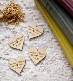100 wooden wedding favor magnets