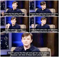 hahaha Chris Colfer!!! I'm literally struggling not to pee my pants.
