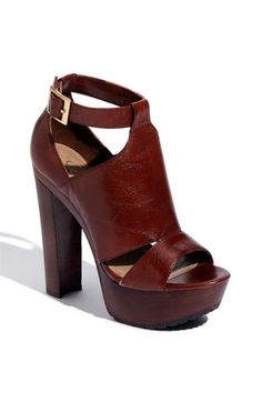 Dark brown chunky heels
