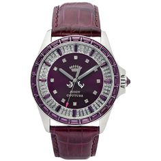 Juicy Couture Watch, Women's Stella Eggplant Embossed Leather Strap 40mm 1901059 $250