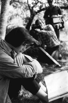 Isabella Rossellini studying her lines for David Lynch's film Blue Velvet, in Massachusetts, 1985. Eve Arnold/Magnum Photos.
