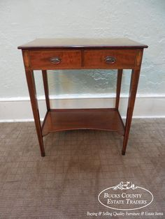 Antique 19th Century Hepplewhite Mahogany Inlaid 2 Drawer Console Lamp Table #Traditional