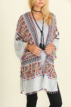 Description: Open Front Print Kimono with Rainbow Pom Pom Trim     Fabric: COTTON BLEND     This is great with Jeans or A tunic dress      3-s/m - 3 m/l  | Shop this product here: http://spreesy.com/Selahboutique/10 | Shop all of our products at http://spreesy.com/Selahboutique    | Pinterest selling powered by Spreesy.com