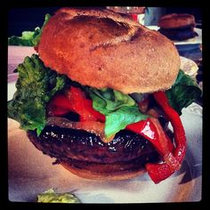 OMG #Portobello Burger w Sauteed onions and Red Bell Peppers on #GlutenFree bun. hello #bbq