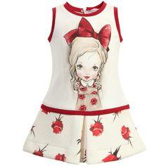 Monnalisa Baby Girls Ivory & Red Rose Jersey Dress at Childrensalon.com