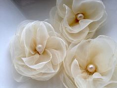 6 Pieces Ivory Organza Handmade Flowers by bidesign on Etsy, $15.00