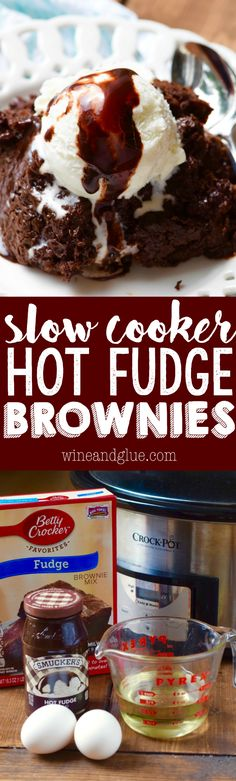 These Slow Cooker Hot Fudge Brownies are FOUR ingredients and absolutely amazing. I will not judge you if you eat them STRAIGHT from the crock pot.