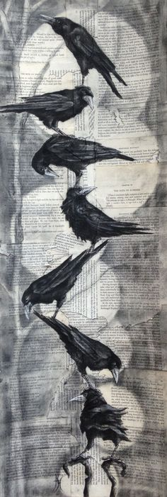 """""""Rook Stack II"""" Charcoal on collaged card By artist Hannah Thomas"""