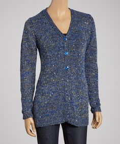 Take a look at this Cobalt & Silver Henley Sweater by Shu Shu on #zulily today! $45 !!