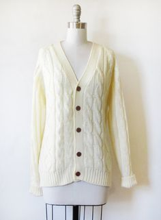 Classic 70s vintage cable knit cardigan sweater. Thick creamy knit with dark  wood buttons. fbeb2a759