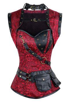 Charmian Women's Steampunk Spiral Steel Boned Vintage Retro Corset Tops Bustier at Amazon Women's Clothing store:
