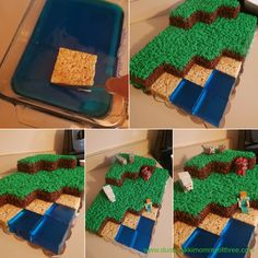 How do I create and decorate a Minecraft Landscape birthday cake? How to Make and Decorate a Minecraft Landscape Birthday Cake How to Make and Decorate a Minecraft Landscape Birthday Cake Bolo Minecraft, Minecraft Birthday Cake, Minecraft Food, Minecraft Cupcakes, Easy Minecraft Cake, Creeper Minecraft, Minecraft Crafts, Minecraft Skins, Minecraft Buildings