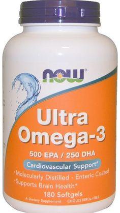 Ultra Omega-3 500 EPA/250 DHA 180 Softgels Fish Oil Essential Fatty Acids Health…