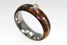 mother of pearl and antler wedding ring  | ... ring features a diamond with mother of pearl and wood inlay